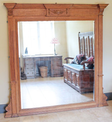 Antique very large quality Victorian oak wall mirror overmantle carved