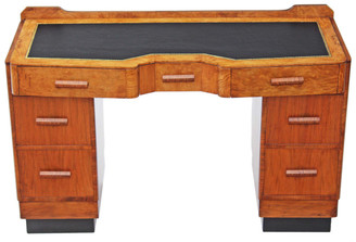 Antique Art Deco walnut leather twin pedestal desk writing dressing table