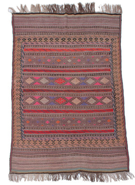 """Antique large Kelim floral hand woven wool rug ~ 5' x 8'6"""""""