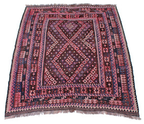 """Antique large Kelim floral hand woven wool rug ~ 7' x 9'6"""""""