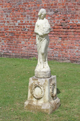 Antique large weathered patinated faux stone concrete statue