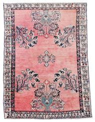 """Antique large Persian hand woven wool rug ~ 4'6"""" x 6'10"""""""