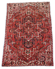 "Antique large quality Persian Herez hand woven wool rug ~ 5'3"" x 9'10"