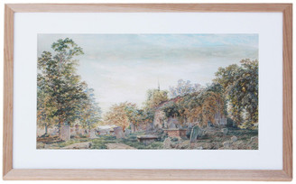 Antique Pre-Raphaelite C1860 Victorian watercolour painting church Inchbold