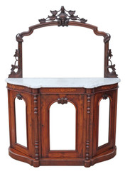 Antique small quality Victorian burr walnut credenza chiffonier sideboard