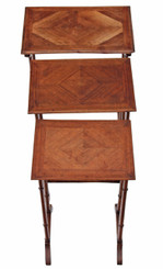 Antique Edwardian nest of 3 beech and mahogany side or occasional tables