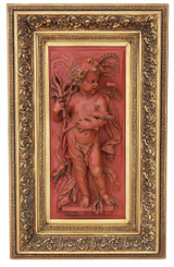Antique large statue work of art angel plaque relief sculpture