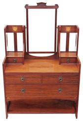Antique Victorian C1900 quality inlaid walnut dressing table Art Nouveau