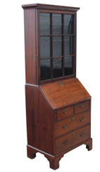 Antique Georgian and later oak bureau bookcase desk writing table