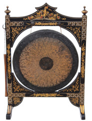 Antique Victorian Chinoiserie dinner gong brass bronze