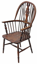 Antique ash elm beech Windsor armchair carver hall side dining chair