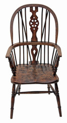 Antique elm beech ash Windsor armchair carver hall side dining chair
