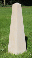 Large stonemason made obelisk limestone garden sculpture