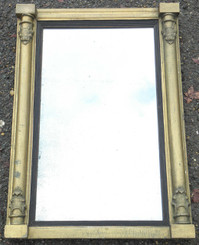 Antique Victorian gilt paint on gesso and wood mirror