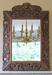 Antique large carved oak Florentine style overmantle wall mirror