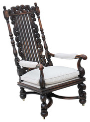 Antique large Victorian 19C oak walnut armchair throne chair