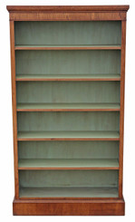 Antique quality tall large oak open bookcase adjustable shelves display