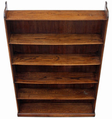 Antique tall large quality oak & elm open bookcase shelves display