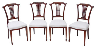 Antique quality set of 4 Edwardian inlaid mahogany dining chairs Harrod's