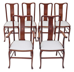 Antique quality set of 6 (4 + 2) inlaid mahogany Queen Anne dining chairs