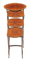 Antique early 20C nest of 4 burr walnut side or occasional tables