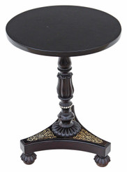 Antique ebonised and inlaid William IV wine side table granite top