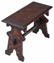 Antique rare C1900 Gothic hardwood poker work window seat bench side chair