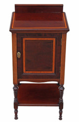 Antique Edwardian Maple & Co. inlaid mahogany bedside table cupboard cabinet