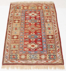 Antique large hand woven wool rug cream and terracotta ~ 4' x 7'