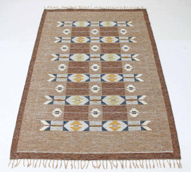 """Antique large Swedish Rollakan hand woven wool rug signed IS ~ 10' x 6'6"""""""