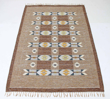 Antique large Swedish Rollakan hand woven wool rug signed IS ~ 10' x 6'6""