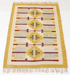 """Antique large Swedish Rollakan hand woven wool rug signed BD ~ 7'4' x 4'7"""""""