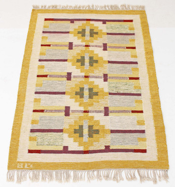 Antique large Swedish Rollakan hand woven wool rug signed BD ~ 7'4' x 4'7""