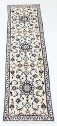 "Antique Persian Nairn hand woven wool rug cream hall runner ~2'6"" x 10'"