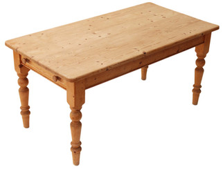 Antique rustic scrub top pine kitchen dining table drawer Victorian style