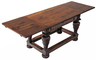 Antique large 19C oak drawer leaf refectory dining table kitchen ~ 8'