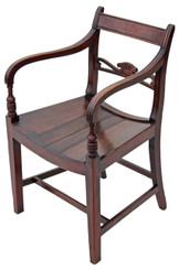 Antique Georgian Regency mahogany elbow carver desk chair armchair