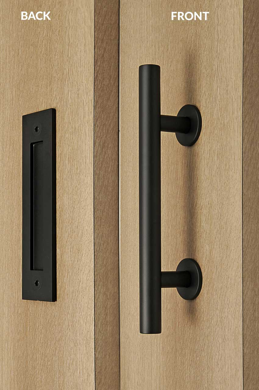 Pull And Flush Door Handle Set Black Powder Finish