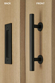 Barn Door Pull and Flush Tubular Door Handle Set (Black Powdered Finish)