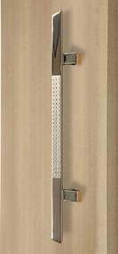 45º Offset Triangular Pull Handle - Back-to-Back (Brushed Satin Grip / Polished Chrome Ends)