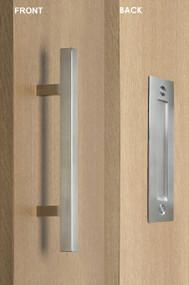 Barn Door Pull and Flush Square Door Handle Set  (Brushed Satin Finish)