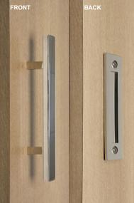 Barn Door Pull and Flush Square Door Handle Set  (Polished Chrome Finish)