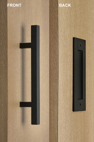 Barn Door Pull and Flush Square Door Handle Set (Black Powdered Finish)