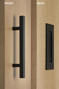 Barn Door Pull And Flush Square Door Handle Set (Black Powdered Finish)