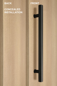 One Sided Ladder Pull Handle with Concealed Fixing (Black Powder Stainless Steel Finish)