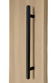"""1"""" x 1"""" Square Ladder Pull Handle - Back-to-Back (Black Powder Stainless Steel Finish)"""