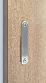 Low Profile Modern Stainless Steel Barn Door Handles For Wood Doors  (Brushed Satin Finish)