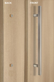 "One Sided 1"" x 1"" Square Ladder Pull Handle with Decorative Fixing (Brushed Satin Finish)"