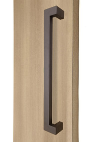 "45º Offset 1.5"" x 1"" Rectangular Pull Handle - Back-to-Back (Bronze Powdered Finish)"