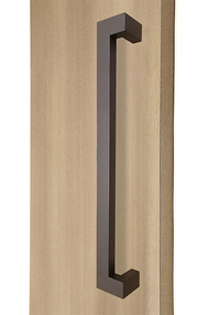 """45º Offset 1.5"""" x 1"""" Rectangular Pull Handle - Back-to-Back (Bronze Powder Stainless Steel Finish)"""